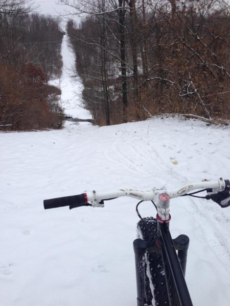 Can't climb on a fatbike? I could barely walk up these hills due to ice, but the fattie made it up both sides with ease.
