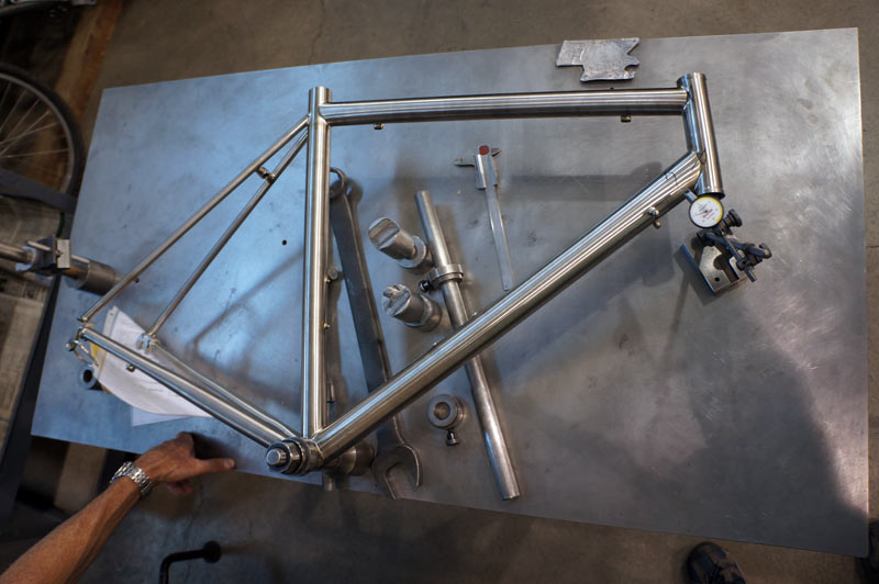Moots titanium bicycles factory tour - frame alignment check