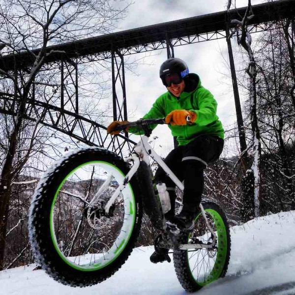 bikerumor pic of the day Fun snowy ride in the New River Gorge, Fayetteville, WV.