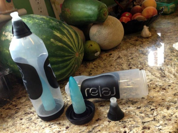 Relaj water bottle review with easy drinking shape and removable freezer ice pack