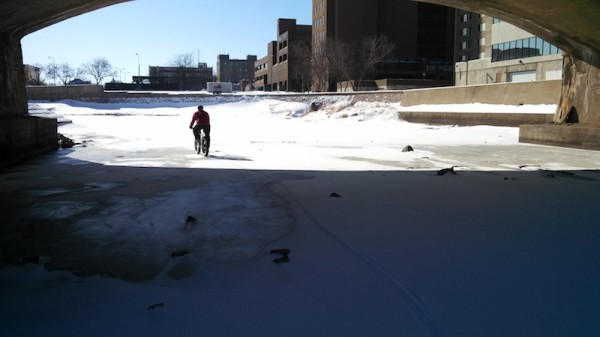 bikerumor pic of the day Riding around Sioux Falls on the frozen Sioux River.