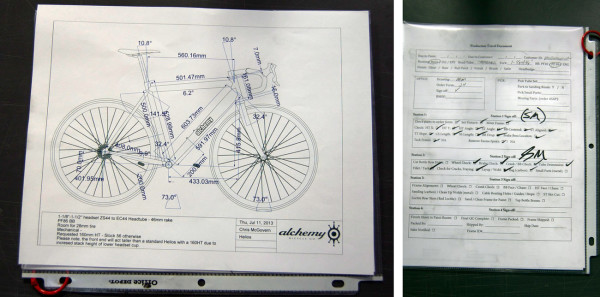 Alchemy Bicycles factory tour - bike fit specs and production checklist