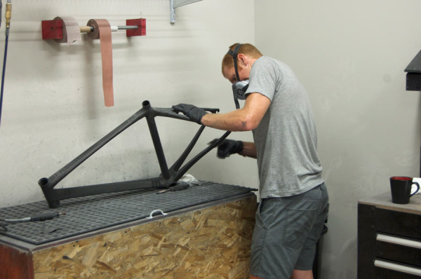 Alchemy Bicycles factory tour - carbon fiber bike frame finishing