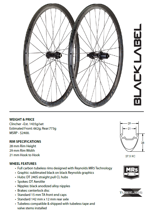 Reynolds Black Label carbom mtb 275 29