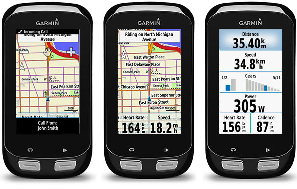 Garmin 1000 cycling computer with mapping software and smartphone connection