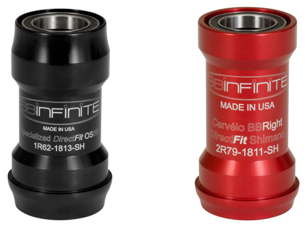 BBinfinite pressfit bottom brackets with direct fit Specialized OSBB and Cervelo BBright adapted to 24mm bearings for Shimano and Campagnolo