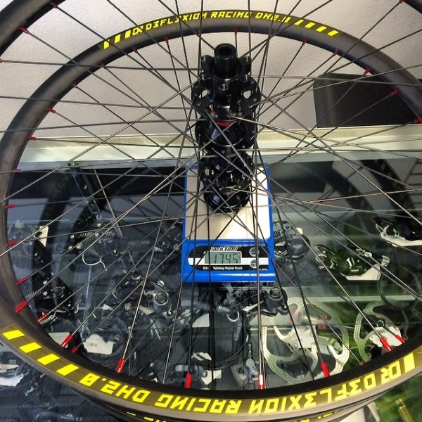 Deflexion Racing DT240 Carbon Wheel Weight Scale Shot