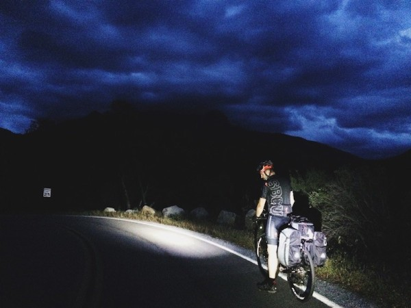 Overnight bike tour in Sequoia National Park, heading into the storm.
