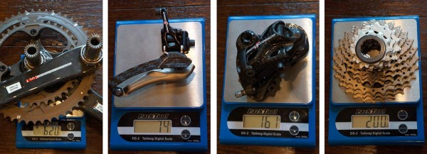 2015 Campagnolo Super Record mechanical road components actual weights