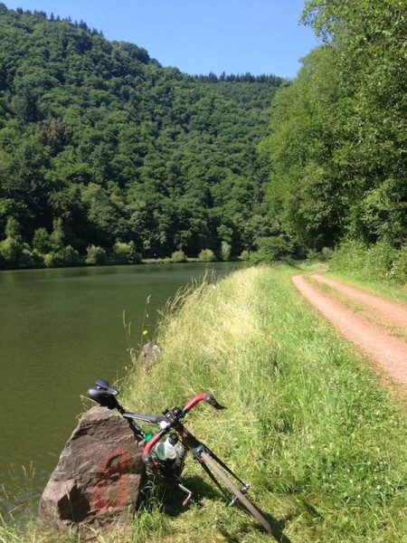 bikerumor pic of the day Riding up the Saar River towards Trier Germany.  Who says road bikes can't ride on gravel roads?