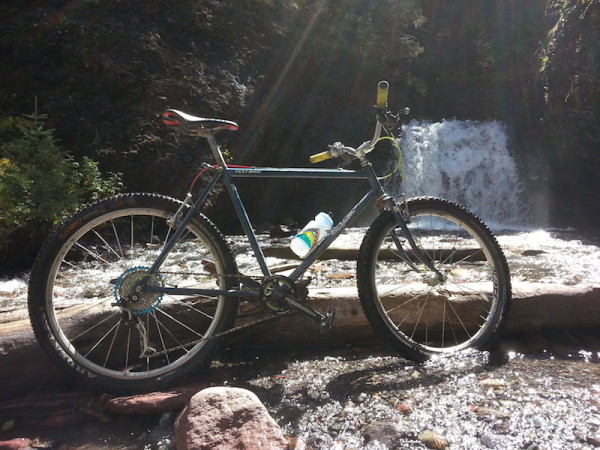 bikerumor pic of the day Here is my 1981 Stumpy that I ride around Telluride everyday. This picture was taken at lower Bear Creek Falls. XT 1x9 drive train with e thirteen ex cog, atlas cranks, and mavic cross ride wheels. Original bars, brake levers, and seat post.