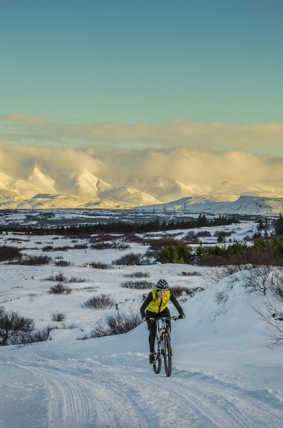 bikerumor pic of the day Maria Ögn Guðmundsdóttir Iceland's greatest female cyclist dashing through the snow near Reykjavik Iceland on a very cold day.
