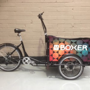 Boxer Shuttle cargo trike with logo