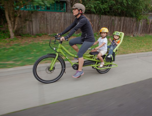 Yuba Spicy Curry electric cargo bike with passengers