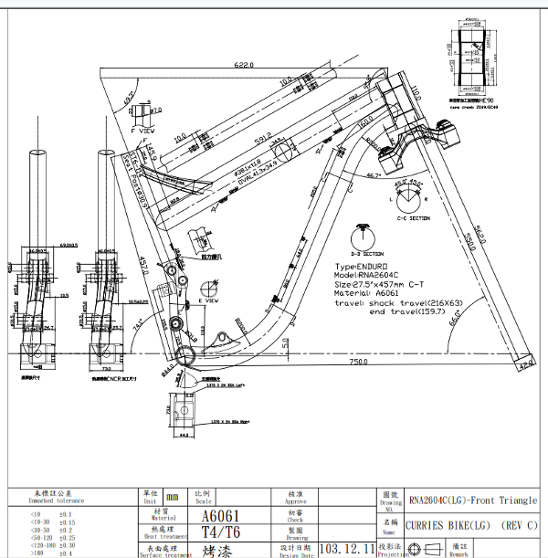 Here are the front triangle drawings built up from the original kinematics. This is the Large frame size.