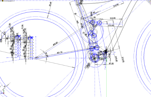 I have about 100 separate drawings of the kinematics like this in Solidworks.  It looks stick-figure, but the lines can be rotated through the bike's suspension movement and precisely measured. Then there are all the 3D parts drawings of the shapes that fit into place.