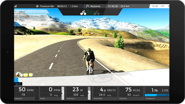 BKool 3D real weather, stats screen