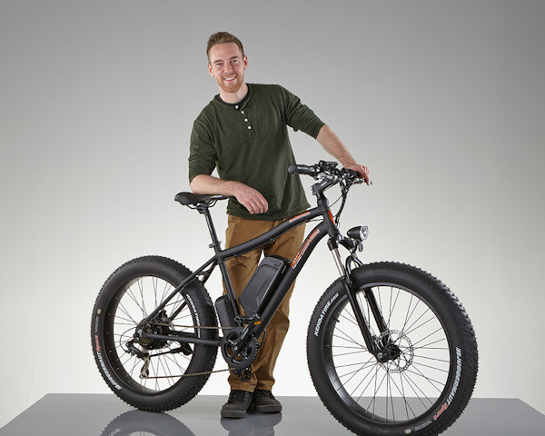 Rad Rover electric fatbike, black color with rider