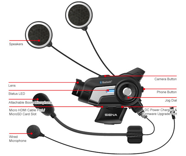 Sena 10C video camera and bluetooth intercom device, component diagram
