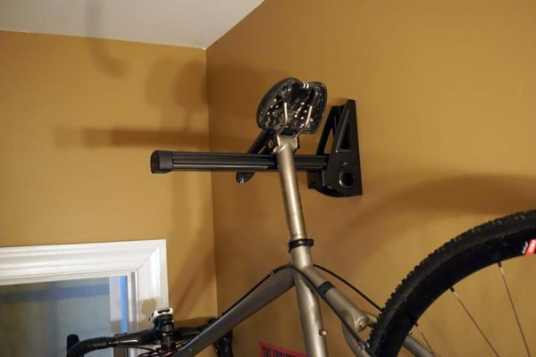 feedback sports velo wall mount for hanging a bike by the saddle