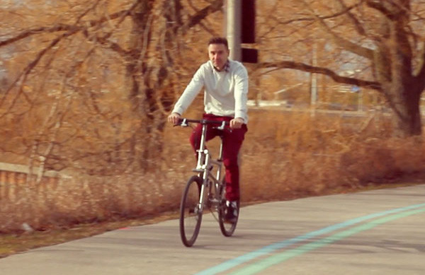 Helix Folding Bike, founder Peter Boutakis riding
