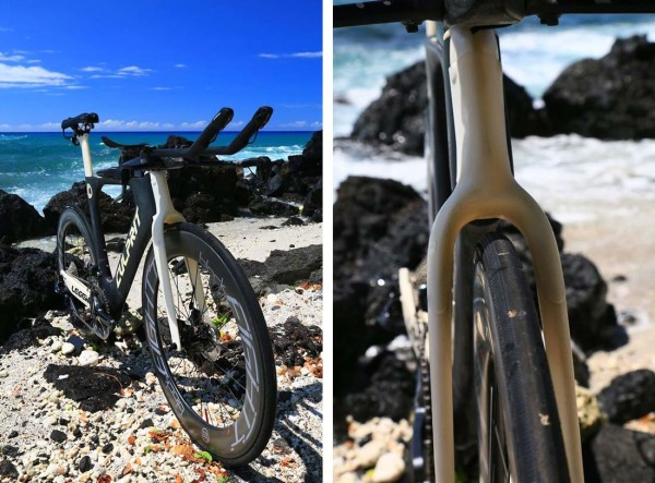 2016 Culprit Legend triathlon bike with magnetic cover plates for rim and disc brakes