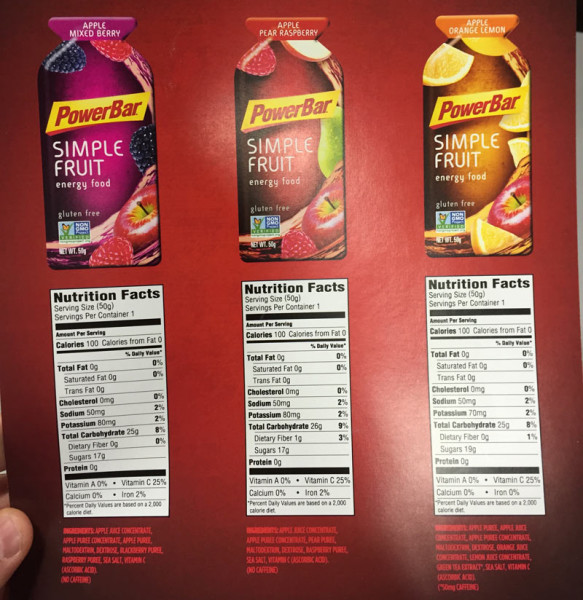 Powerbar real fruit puree energy gels for natural athletes