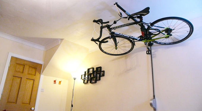 Stowaway bike storage & Stowaway Stashes your Bike On the Ceiling to Free Up Space in your ...