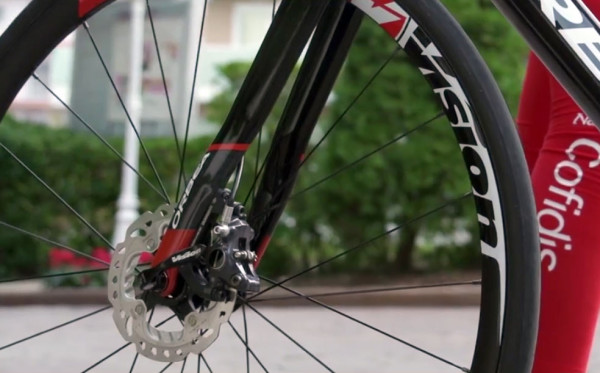 prototype orbea orca disc brake road bike for team cofidis