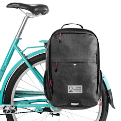 Two Wheel Gear backpack pannier convertible, on rack
