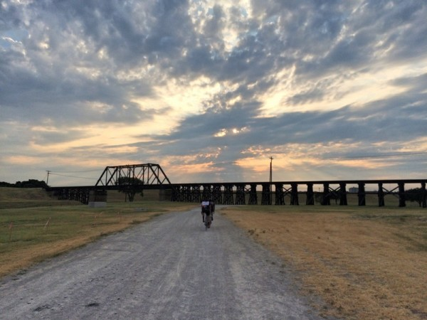 bikerumor pic of the day trinity trail, Here I am riding early one morning towards the sunrise with friends on the Trinity Trail in Fort Worth, Texas.