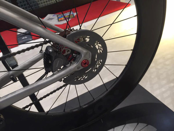 Tred prototype disc brake rotor shield for road bikes to protect riders from cuts and burns
