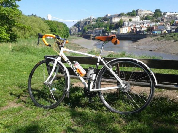bikerumor pic of the day Dawes Galaxy in front of the Clifton suspension bridge over the Avon Gorge at Bristol, England. The bridge was originally designed by Isambard Kingdom Brunel