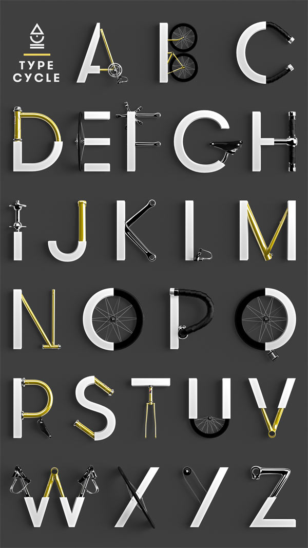 type-cycle-bike-part-inspired-font-3D-typeface