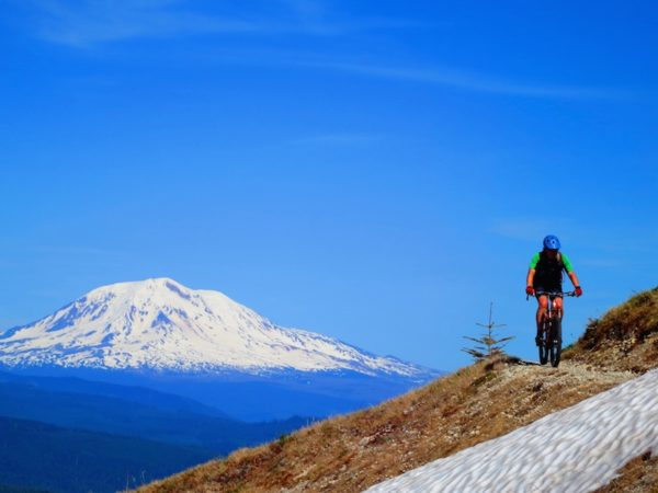 bikerumor pic of the day Joe Foote riding the Plains of Abraham under the shadow of Mt Saint Helens on a Santa Cruz 5010.
