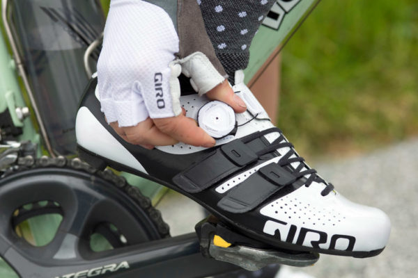 Giro-Factress-Techlace_womens-lace-up+Boa-dial_premium-carbon-soled-road-shoes_white-on-bike