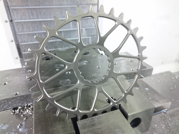 KA Engineering titanium chainring, in factory