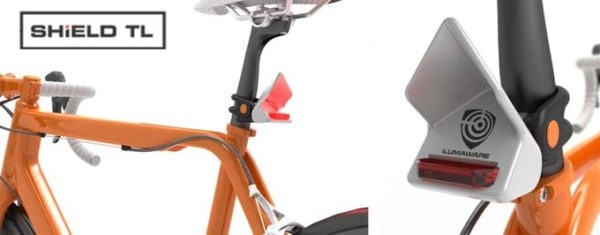 ilumaware shield tl bicycle tail light reflects automobile crash avoidance radar so the car will not hit a cyclist