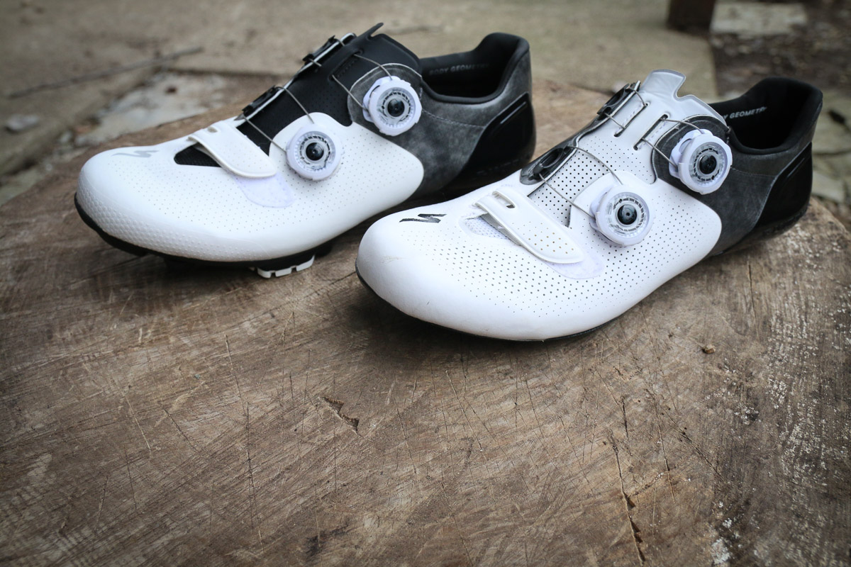 A tale of two soles: A few bits of rubber is all that separate the S-Works 6 XC and S-Works 6 Road shoes - Bikerumor
