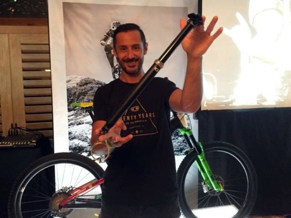 Cedric Gracia shows off his new 160mm travel Crank Brothers Highline dropper seatpost