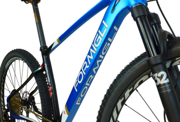 2018 Formigli 99 carbon fiber hardtail mountain bike with custom geometry and flexible seatstays and chainstays