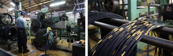 kenda factory tour - spools of wire bead are turned into rubber coated wire beads for use in bicycle tires