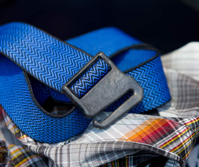 All adventure belt with stretch strap and non-metal carbon fiber buckle for travel