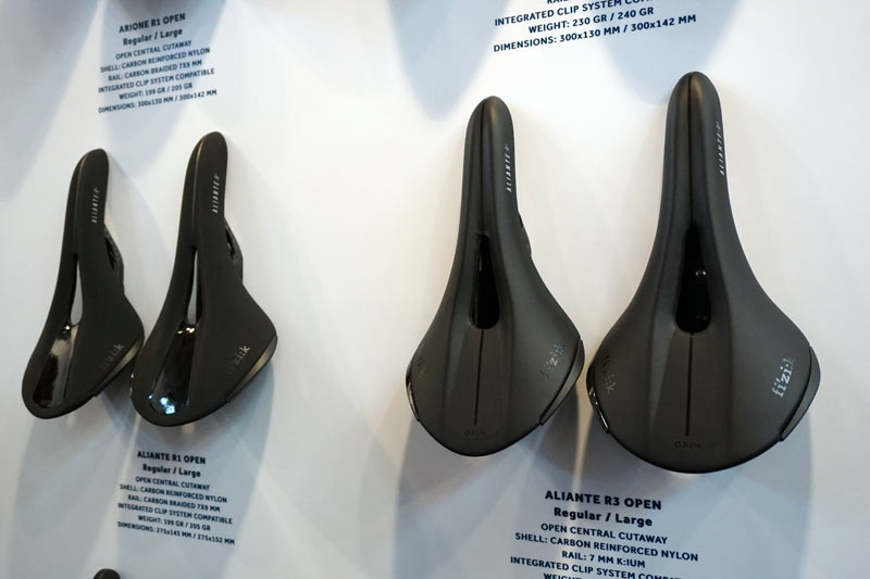 2018 Fizik Antares Aliante and Arione Open saddles redesigned with center cutout relief section to improve blood flow while cycling