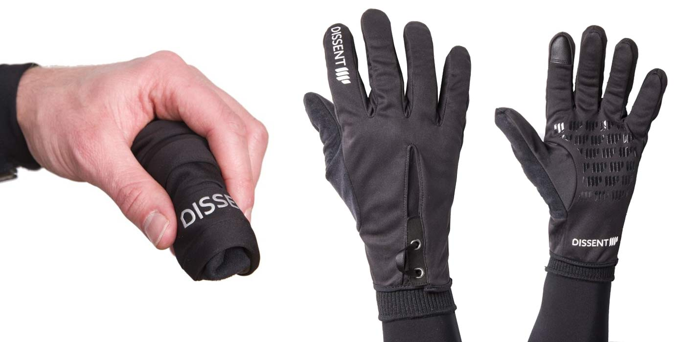 Dissent 133 by TheRiderFirm layered winter biking gloves wet cold cycling glove system Showerlite windproof shell glove