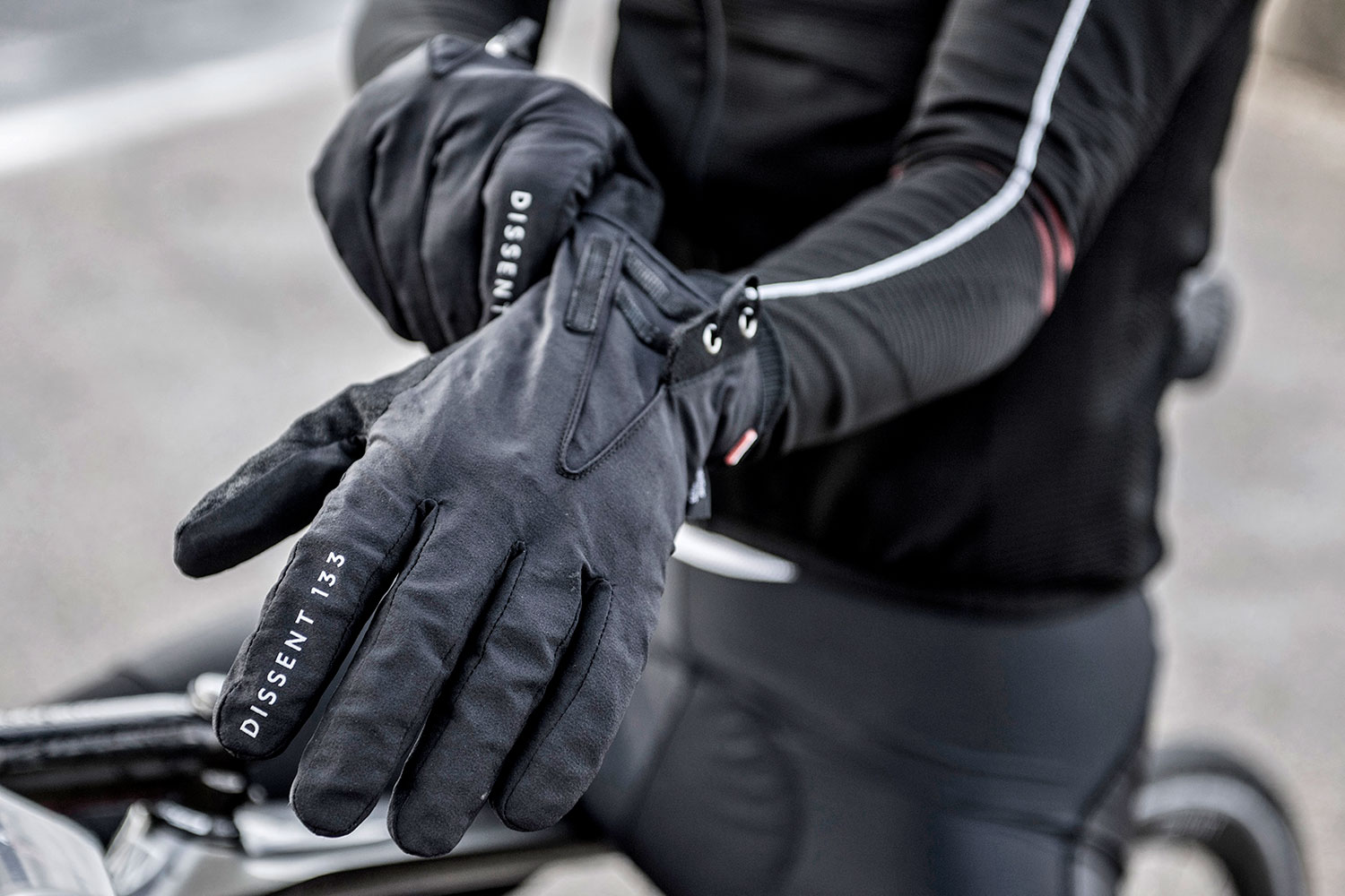 Dissent 133 by TheRiderFirm layered winter biking gloves wet cold cycling glove system one-hand gusset opening