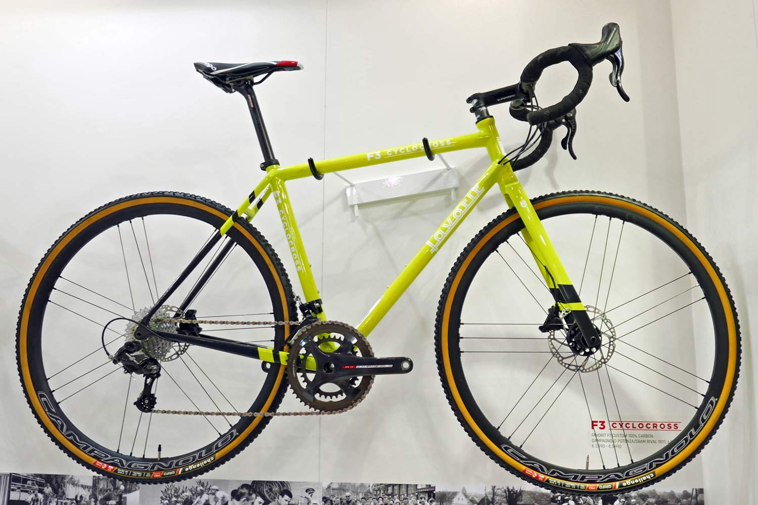 Favorit F3 Cyclocross custom carbon custom sizing custom geometry disc brake carbon cyclocross bike Campagnolo H11 complete