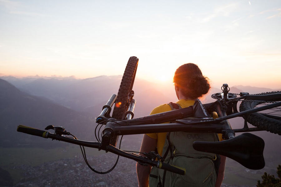 Peakrider mountain bike carrier attachment for backpacks to hold your bicycle on your back