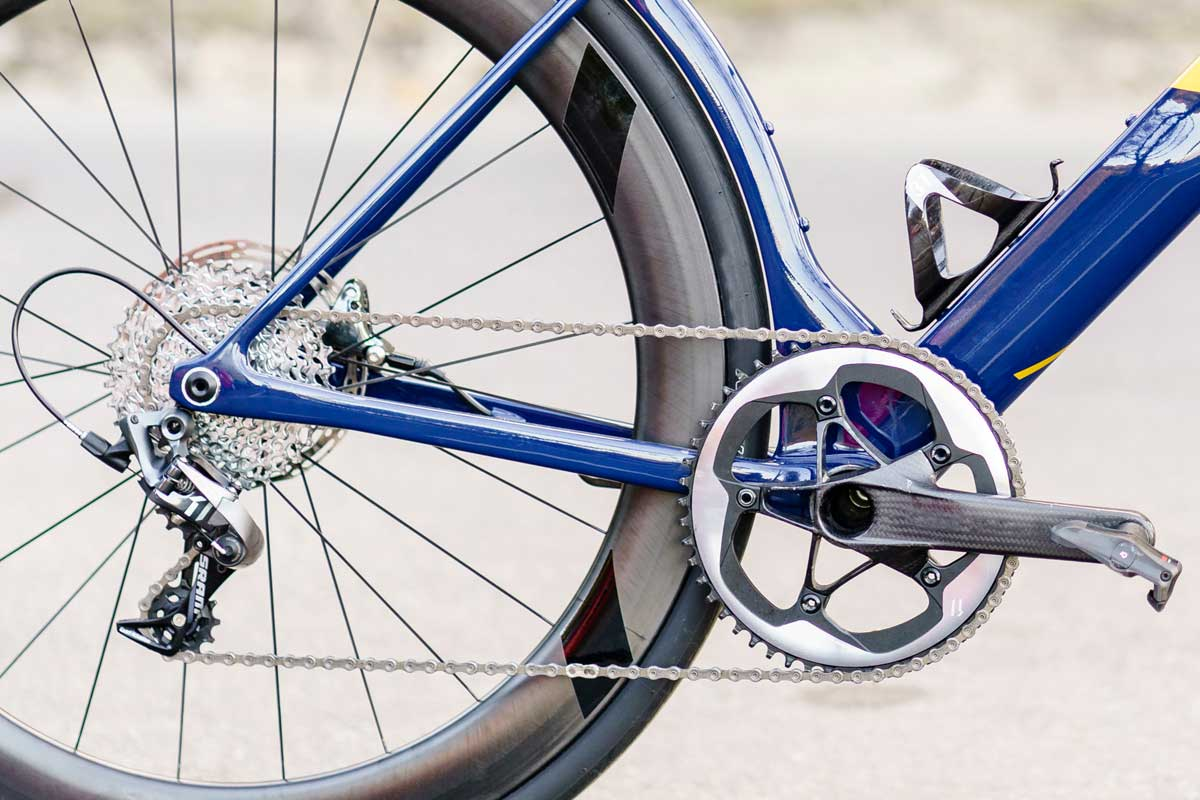 aqua blue 3T Strada 1x road bike for the pro peloton
