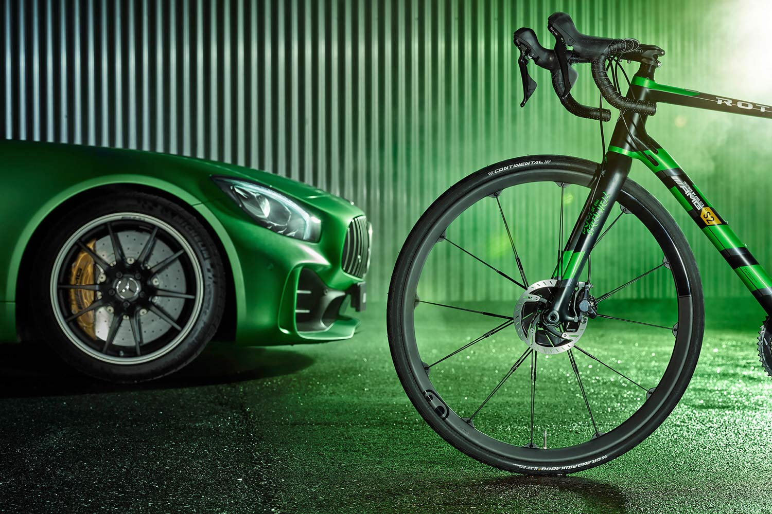 """Rotwild x Mercedes-AMG R.S2 """"Beast of the Green Hell"""" limited edition lightweight carbon disc-brake road bike front ends"""
